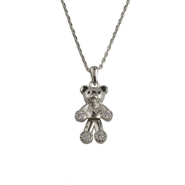 925 Sterling Silver- Necklace Bear Pave