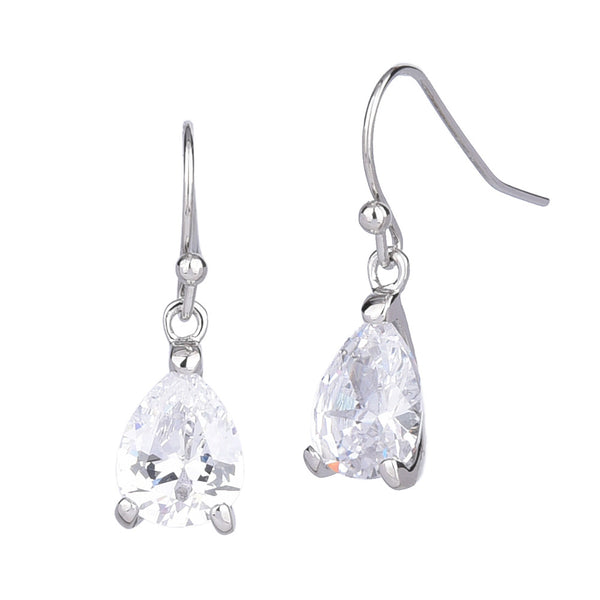Clear Cubic Zirconia Teardrop Shaped Dangling Earrings