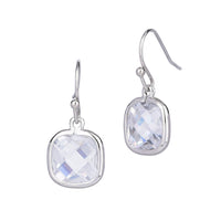 Square Chess Cut Clear Cubic Zirconia Dangling Earrings