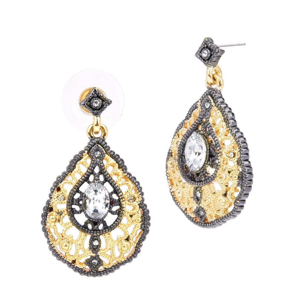 Hematite & Gold Tone Filigree Oval Clear CZ Dangling Earrings