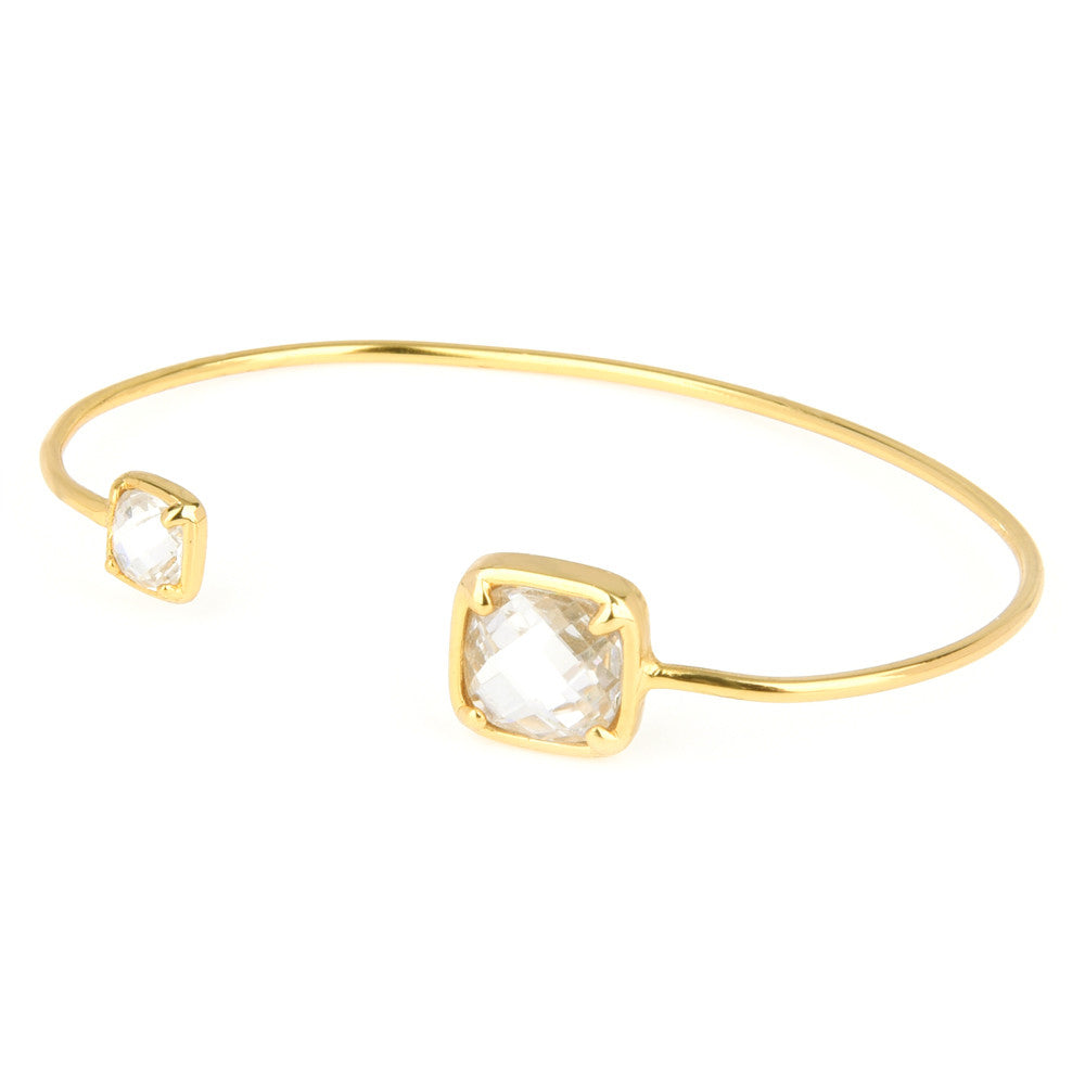 Cushion Cubic Zirconia Gold Tone Open Cuff Bangle