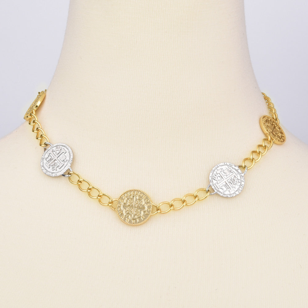 Faux Spanish Coins Two Tone Necklace