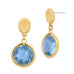 Gold Tone Brushed Pebble Round Blue Topaz Glass Dangling Earrings