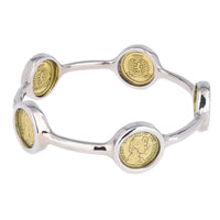 Queen Elizabeth II Imitation Coin Two Tone Bangle (Big)