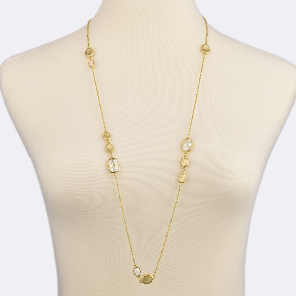 Matte Gold Tone Brushed Pebbles and Rectangle Cubic Zirconia Long Strand Necklace