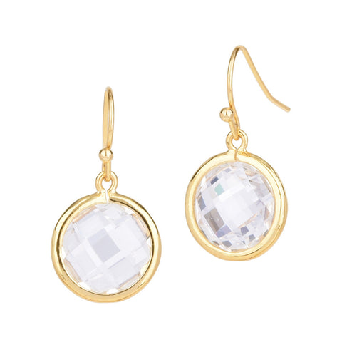 Circle Chess Cut Clear Cubic Zirconia Dangling Earrings