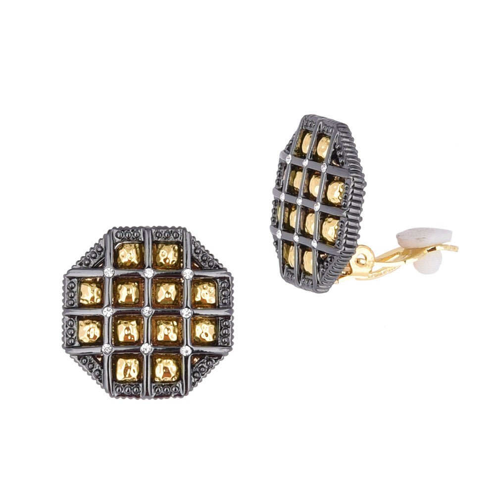 Hematite Gold Tone Waffle Octagon Shaped Clip On Earrings