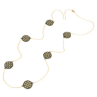 Hematite Gold Tone Waffle Octagon Shaped Long Strand Necklace