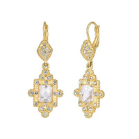 Clear Cubic Zirconia with Crystal Rhinestones Matte Gold Tone Vintage Dangle Earrings