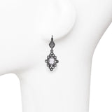 Clear Cubic Zirconia with Crystal Rhinestones Matte Vintage Dangle Earrings