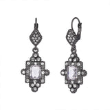 Clear Cubic Zirconia with Crystal Rhinestones Matte Hematite Vintage Dangle Earrings