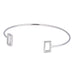 Clear Cubic Zirconia Open Rectangle Cuff Bangle