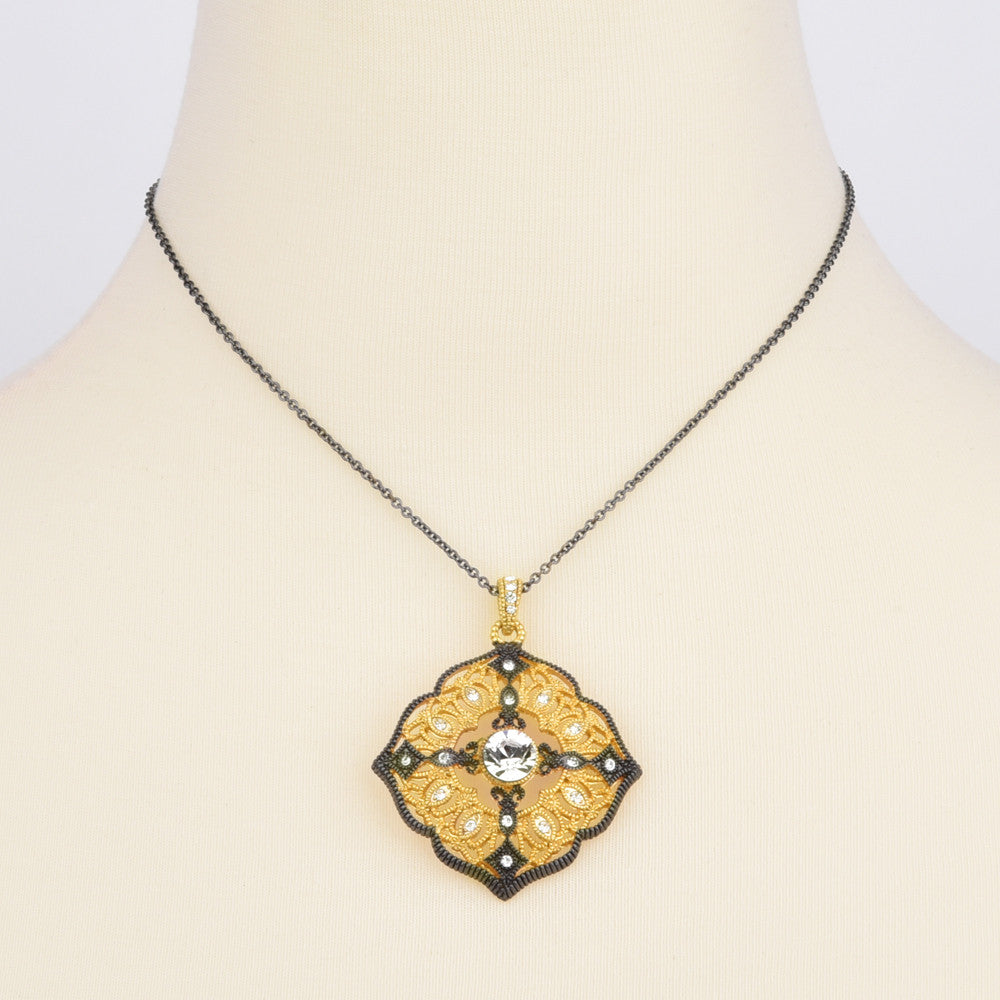 Hematite & Gold Tone Filigree Quatrefoil Pendant Necklace