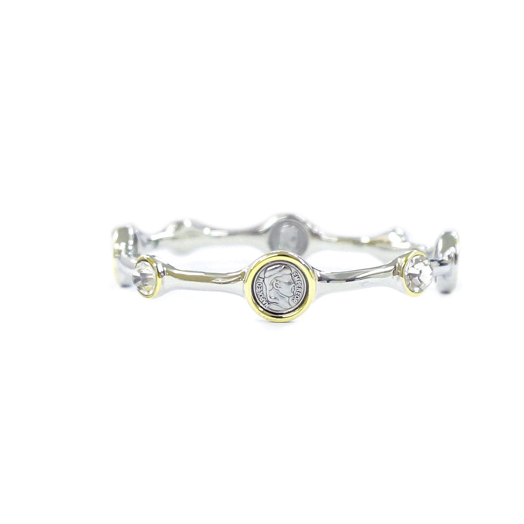 Silver & Gold Tone Coin Bangle