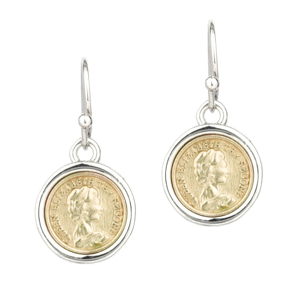 Two Tone Queen Elizabeth II Faux Coin Dangling Earrings