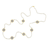 Crystal & Gold Tone Tiny Beads Faux Spanish Coin Long Station Necklace
