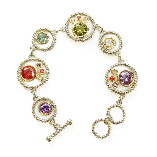 Two Tone Round dark multi CZ Toggle Bracelet