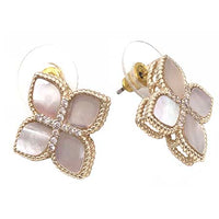 Gold Mother-of-Pearl Flower Cross Earrings