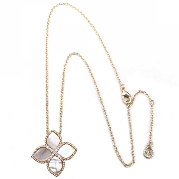 Gold Mother-of-Pearl Flower Cross Necklace 16""