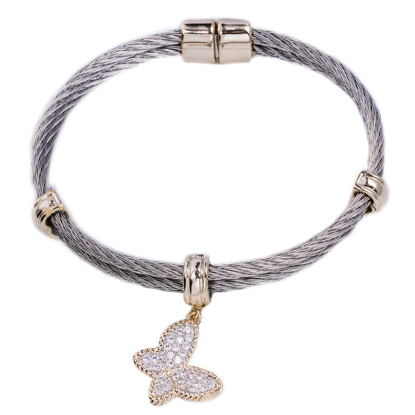 Wire Bracelet with CZ Butterfly Charm