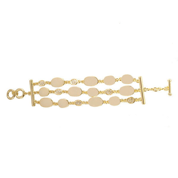 BRACELET GOLD 3-ROW PAVE