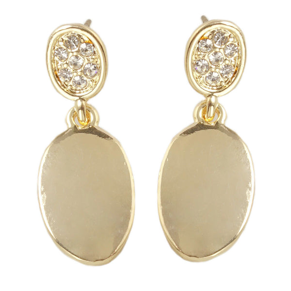 EARRING GOLD PAVE DROP