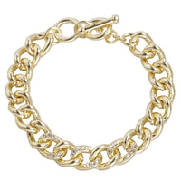 Shinny Gold with CZ Curb Link Cuban Chain Bracelet