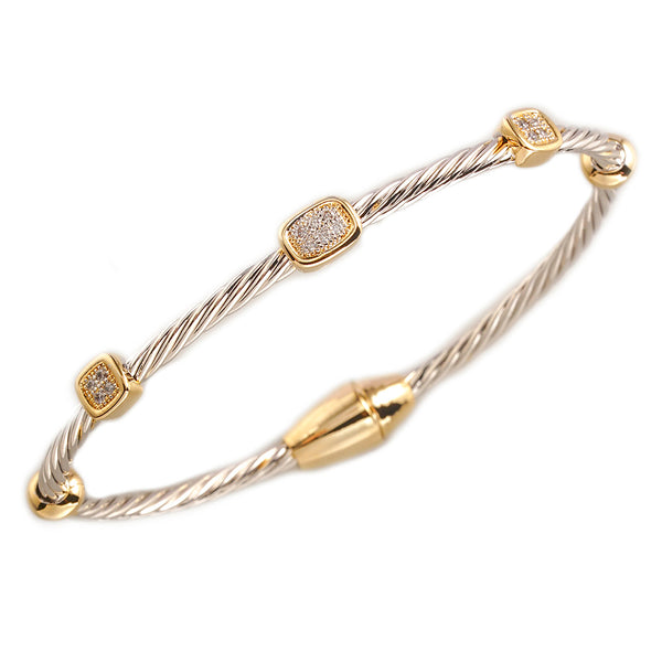 Pavé Clear Cubic Zirconia Triple Barrel Cable Bangle