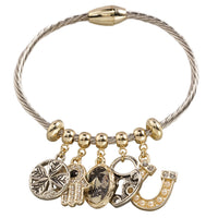Rhodium Two Tone- Theme Charm Twisted Wire Bangle