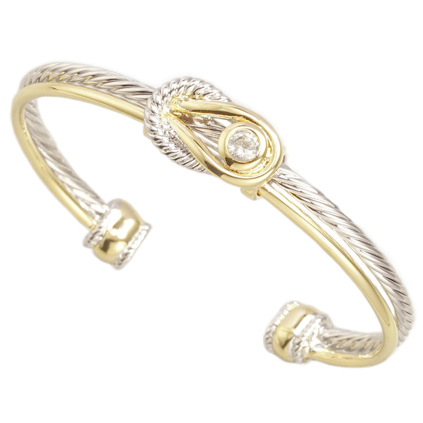 Two Tone Brass Cable Knot With Crystal Cuff