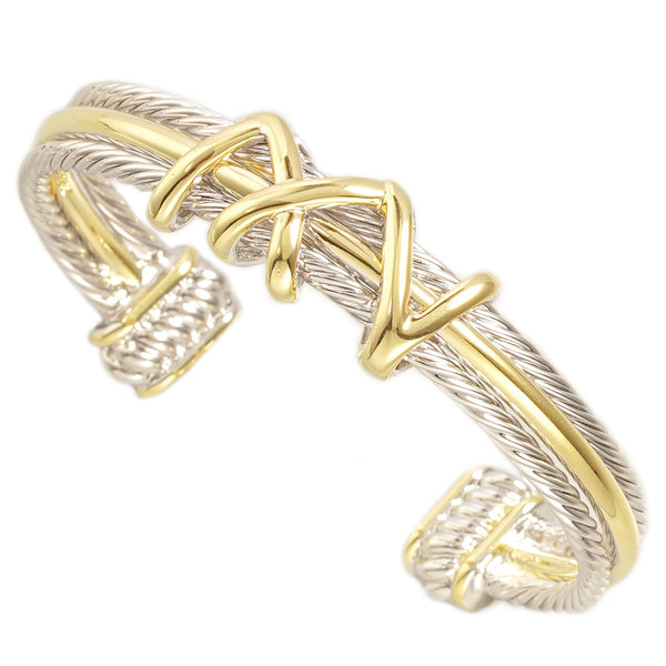 Two Tone Brass Cable Twist Cuff