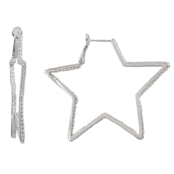 Rhodium Star CZ Earrings