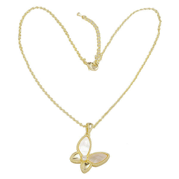 Gold Mother-of-Pearl Butterfly Necklace 16""