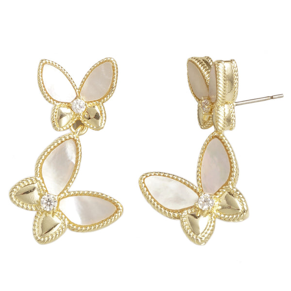 Gold Mother-of-Pearl Butterfly Earrings