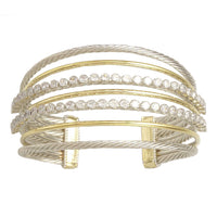 2T Two Tone Brass Cable Cross Over Cubic Zirconia Cuff