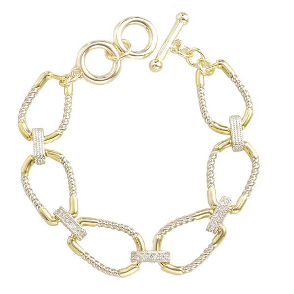 Two Tone Oval Cable Bracelet with CZ