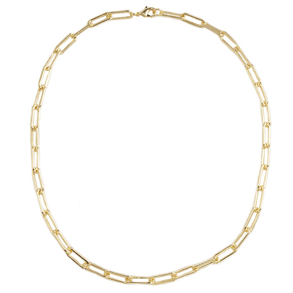 Paper Clip Links in Gold Tone Statement Necklace 18""