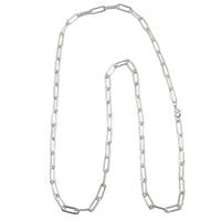Silver Paper Clip Chain Necklace 30""