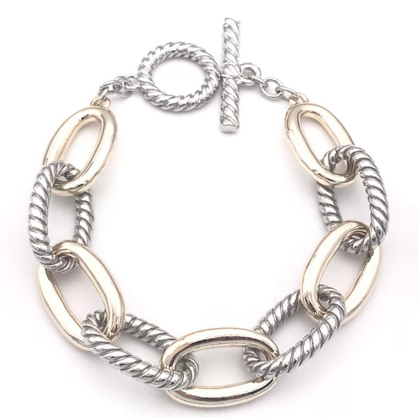 Two Tone Large Curb Links Statement Bracelet