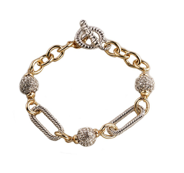 Two Tone Cable Bracelet with Pave Balls