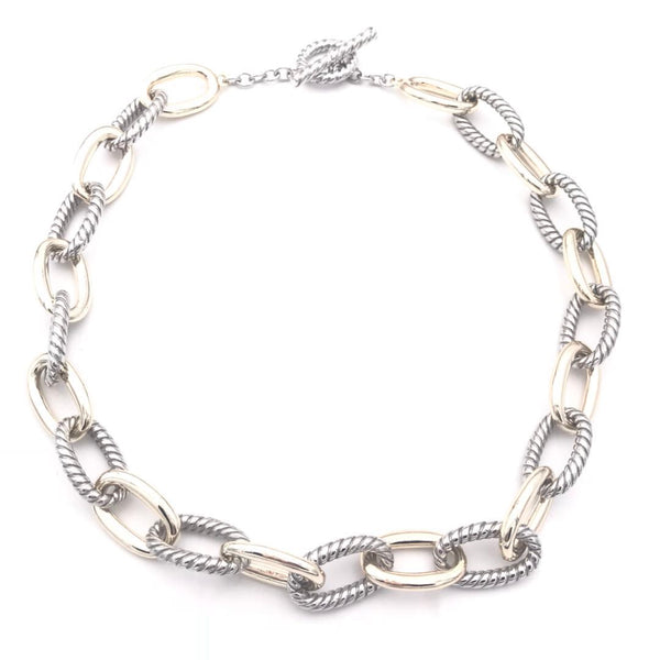 Two Tone Curb Link Cuban Chain Necklace 18""