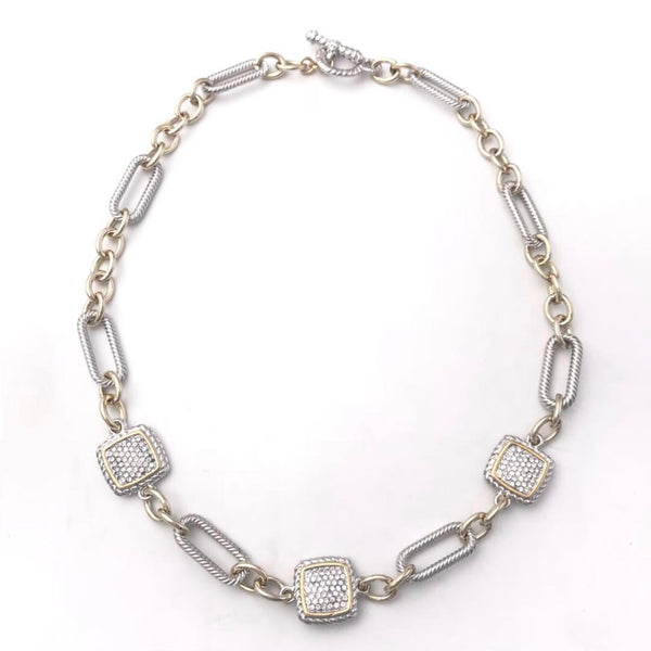 Two Tone Curb Link Necklace with Square Paves 18""