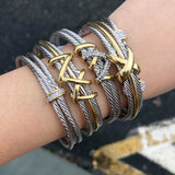 Two Tone Brass Cable Single cross Cuff
