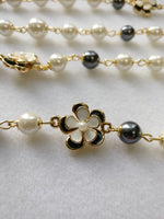 Black and creamy pearl with black n white enamel flower 36+2""