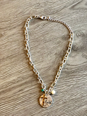 Faith Hammered Necklace with Cross