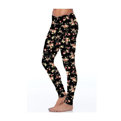 Kids Black Floral Print Leggings