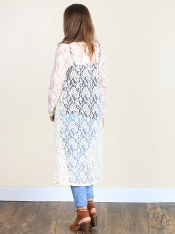 HOLLY'S LACE DUSTER KIMONO LONG-SLEEVE ONE-SIZE