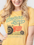 Southern Born on Honey Crewneck Cuff Tee