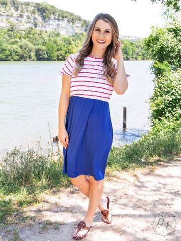 Sail Away with Me Dress with Shoulder Ties & Pockets