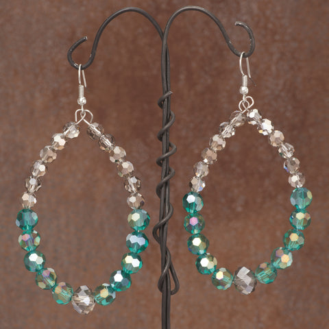 Beaded Tear Drop Earrings Grey & Aqua